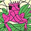 Coloriage grenouille rose seul jeu