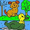 Seul chien et canard à colorier jeu