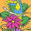 Seul perroquet sur la coloration de l'arbre jeu