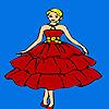 Beau rouge habillé la fille à colorier jeu