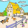 Grande ferme et chevaux à colorier jeu