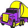 Coloriage gros camion violet jeu