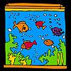 Grand aquarium et les poissons multicolores à colorier jeu