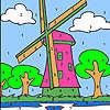 Coloriage grand moulin à vent jeu