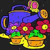 Grandes fleurs dans le jardin Coloriage jeu