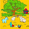 Arbre de grande ferme et des animaux à colorier jeu