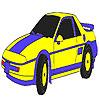 Coloriage voiture classique bleu jeu