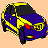 Coloriage voiture rapide bleu jeu