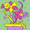 Papillons et fleurs à colorier de pot jeu
