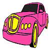 Coloriage voiture rose classique jeu