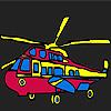 Coloriage de l'hélicoptère militaire coloré jeu