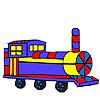 Coloriage wagon long coloré jeu