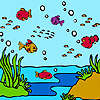 Poissons colorés de l'océan à colorier jeu
