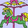 Coloriage de carrousel coloré jeu