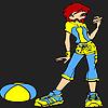 Jolie fille sportive à colorier jeu