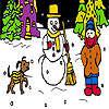 Chien et coloriage nuit hiver jeu