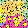 Éléphant dans la coloration de la robe rose jeu