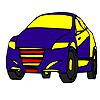 Coloriage voiture modèle rapide bleu jeu