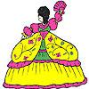 Moelleux robe fille à colorier jeu