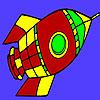 Coloriage fusée spatiale de vol jeu