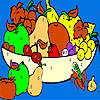 Fresh fruits in the basket coloring jeu