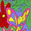 Coloriage drôle de papillon rose jeu