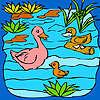 Famille canard drôle dans la coloration du lac jeu