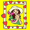 Girl and butterflies on the frame coloring jeu