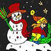 Coloriage de nuit fille hiver jeu