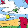 Jeune fille et les oiseaux dans la coloration de champ jeu