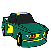 Coloriage voiture rapide vert jeu