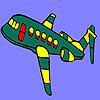 Coloriage d'avion volant vert jeu