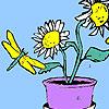 Helianthus fleurs et coloriage d'oiseau jeu