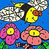Abeille affamé dans la coloration de jardin jeu