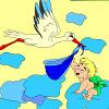 Enfants Coloriage cigogne et bébé jeu