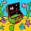 Petits poissons dans la coloration de la boîte jeu