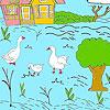 Petite ferme et canards à colorier jeu