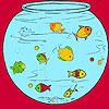 Petits poissons dans la coloration de l'aquarium jeu