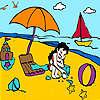 Petite fille à la coloration de la plage jeu