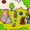 Petite famille à la coloration de camp jeu