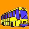 Coloriage bus longue rue jeu