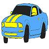 Coloriage magnifique voiture bleue jeu