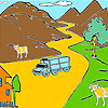 Mountain and cows coloring jeu