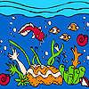 Océan et poissons multicolores à colorier jeu