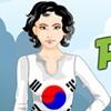 Jeune fille pleine d'entrain patriotique en Corée du Sud jeu