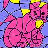 Chat de maison rose à colorier jeu
