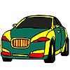 Coloriage voiture verte public jeu