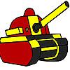 Coloriage tank militaire rouge jeu
