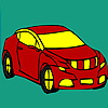 Red longer car coloring jeu