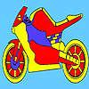 Coloriage moto de course rouge jeu